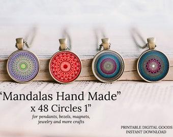 1 inch circle mandalas hand made round images