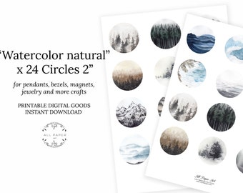 2 inch circle watercolor round images