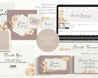Branding package small business template. Banner for etsy.