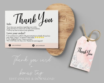 Thank you cards business, INSTANT Review Cards, Feedback Cards, Editable PDF Printable for Etsy sellers thank you packaging Custom