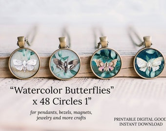 1 inch circle watercolor round images