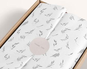 Tissue paper Lavander design download and sticker, Branded Tissue Paper