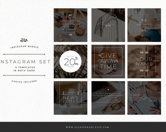 Instagram post templates x9 editable for small business