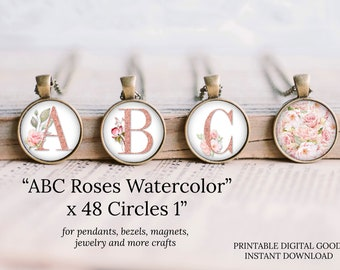 1 inch circle watercolor roses alphabet round images