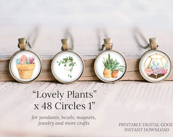 1 inch circle watercolor round images plants