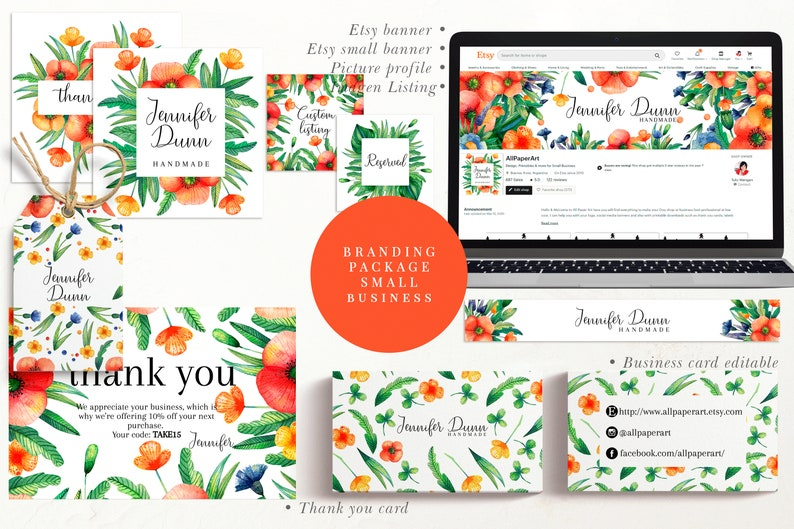 Branding package small business template. Banner for etsy.  image 0