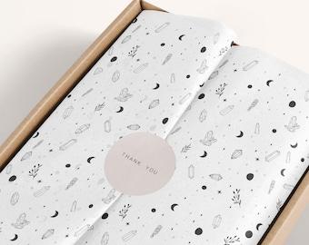 Tissue paper crystal, moon phase & sage sticks design download and sticker