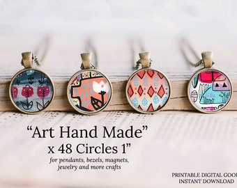1 inch circle art hand painted
