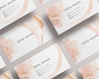 Business card template Edit online, gold pink and watercolor