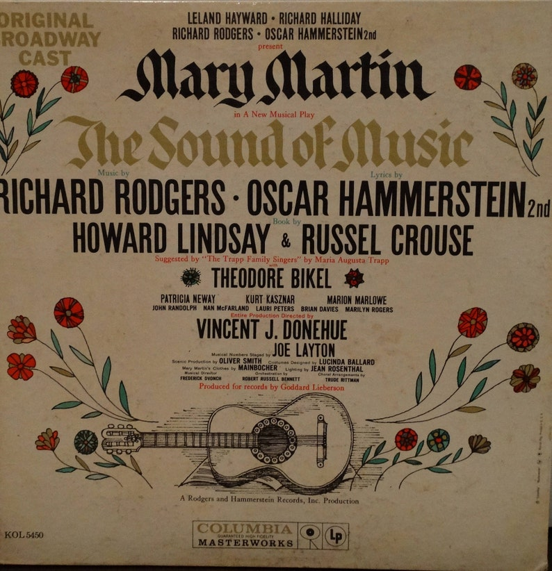 The Sound Of Music (Original Broadway Cast) 1959 (LP, Album, Vinyl Record )  Stage and Screen, Musical