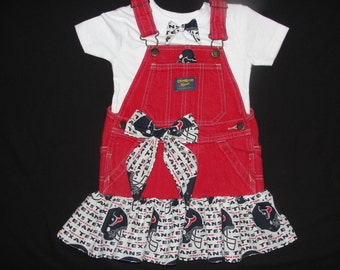 Go Texans! Spirit overall dress. Size 12-18.Great for the little Texan diva in your life,houston texans overall dress,texans,overall tutu.