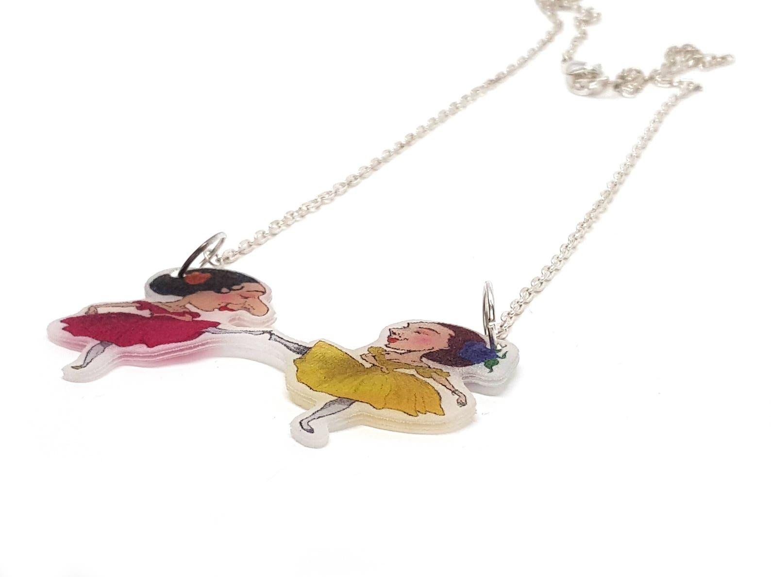 on sale ballerina necklace, vintage dancer necklace, victorian dancer, dancing necklace, ballet pendant, dancer girl, point shoe