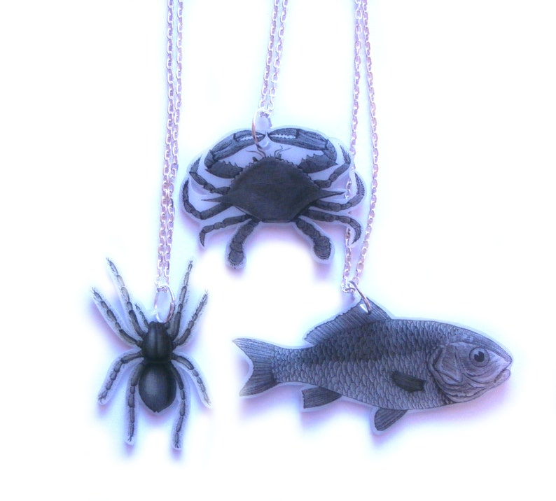 Vintage Handmade accessory Totem fish necklace Ready to ship Spiritual fish Animal Black and white fish Power Animal necklace