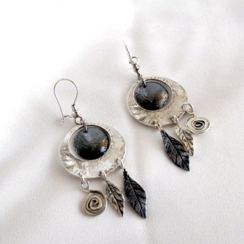 Gypsy earrings Black and white earrings Indian earrings Silver drop earrings Ethnic earrings Chunky earrings