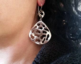 Large drop earrings, statement earrings, drop earrings, dangle earrings, dangle drop earrings, teardrop earrings, silver earrings, For women