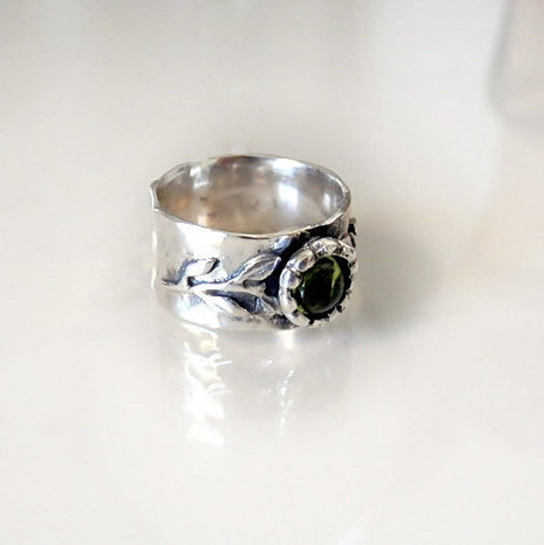 Band ring Peridot Silver ring Israeli Jewelry Green ring Peridot ring Wide Silver ring Silver Branch Ring Olive ring Wide band ring