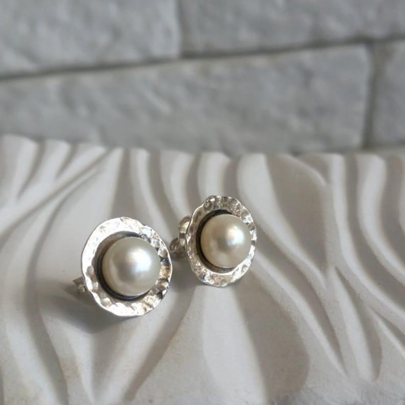 0c5648f43 White pearl earrings Pearl stud earrings pearl earrings | Etsy