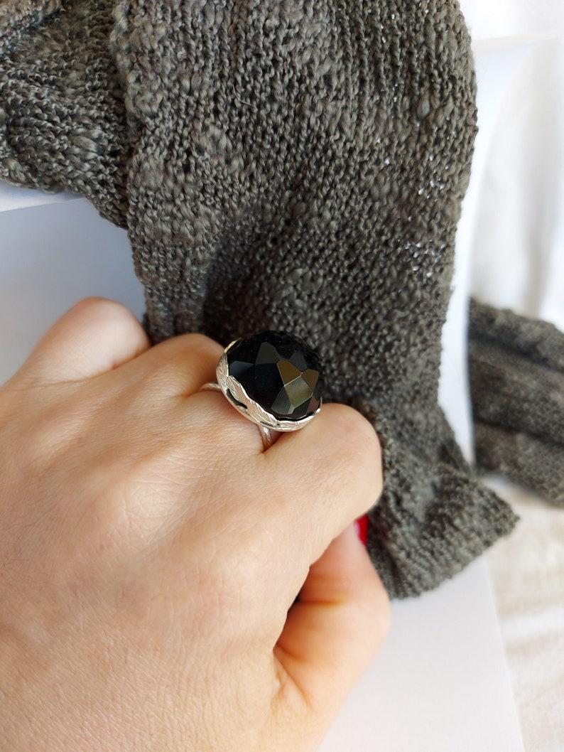 Black Gemstone Ring Large Black Onyx ring Large silver ring for women Circle Silver Statement Ring