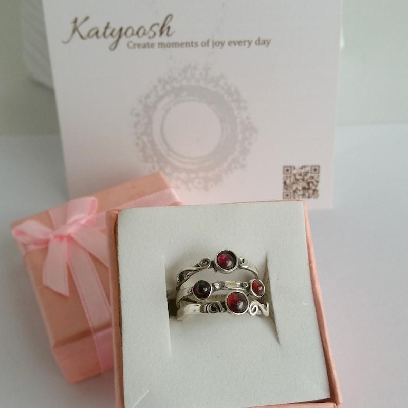 Gemstone ring Garnet ring Red ring Gift Garnet silver ring Stacking Ring January birthstone ring Sterling silver ring Ring for women
