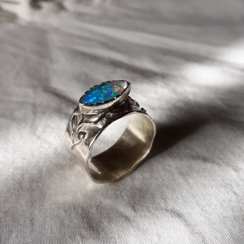 ac1978b91277c Wide band sterling silver ring, Silver opal ring, Handmade opal ring,  Silver rings for women, Opal ring, Statement jewelry, hammered ring