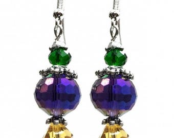 Mardi Gras Color Purple Green Gold Crystal Hook Earrings Carnival Fat Tuesday Masquerade Costume