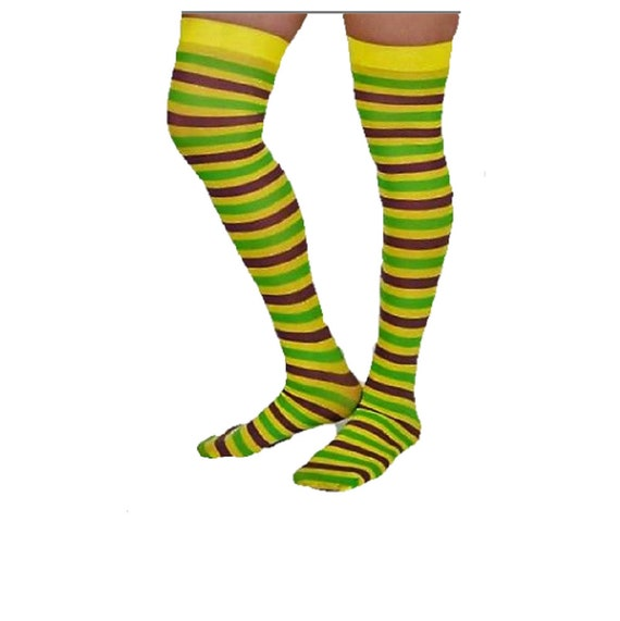 Adult/'s Purple Yellow Green Striped Mardi Gras Socks