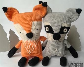 Fox & Raccoon amigurumi pattern (2 X 1)