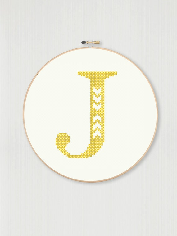 Cross Stitch Letter J Pattern With Chevron Detail Instant Etsy