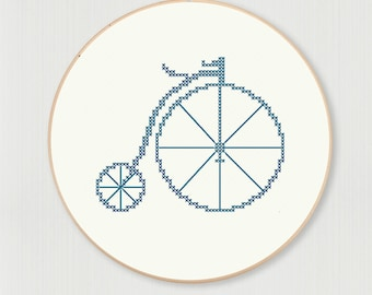 Pennyfarthing bicycle cross stitch pattern, instant digital download