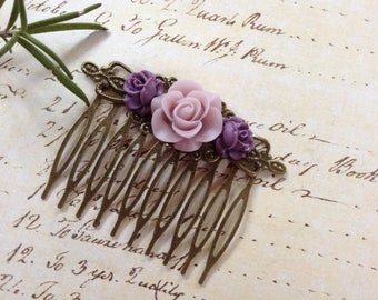 Choose One, Purple and Lavender or Burgundy and Sage Rose Comb