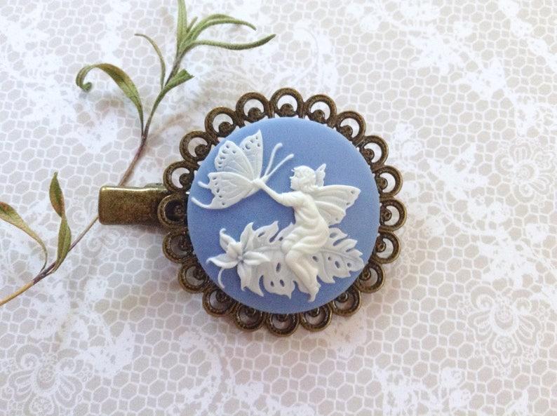 White On Blue Fairy Alligator Clip