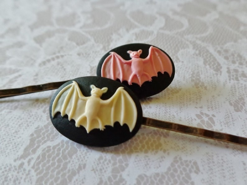 Pink on Black And Ivory on Black Bat And Brass Hair Clips