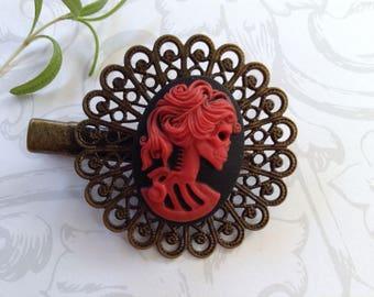 Red on Black She Skull Brass Alligator Hair Clip