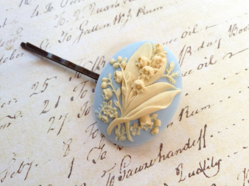 Blue And Ivory Lily of The Valley Hair Clip