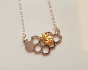 Gold Bee Necklace, Honeycomb Necklace, Manchester Bee, Manchester Jewellery