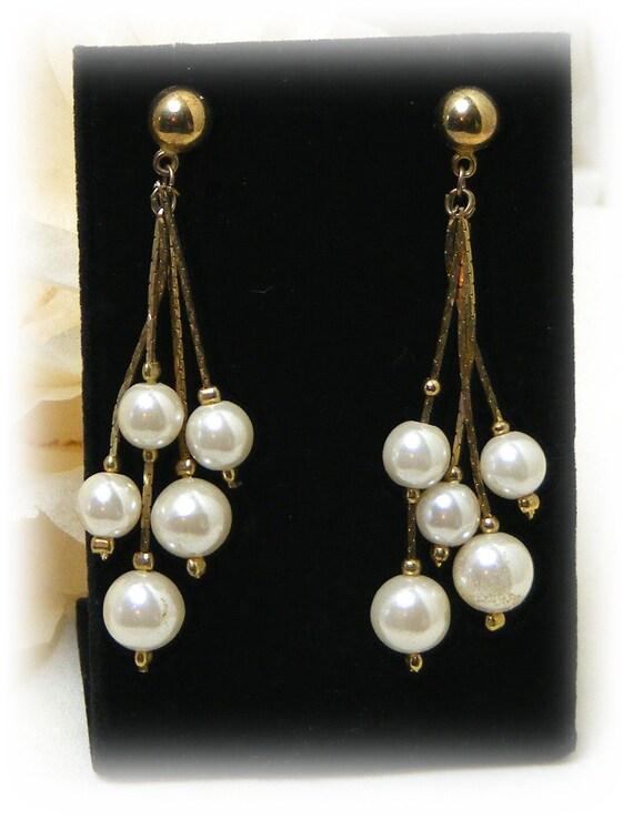 """Vintage Dangle """"FAUX PEARL EARRINGS"""" . .  (pierced) After 5 Style"""