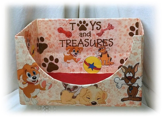 "DOGGIE TOY BOX . . Adorable . . 13"" x 9 1/2""   (Custom Orders Welcome)"
