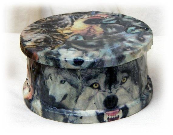 Ceramic WOLVES TRINKET BOX. . . custom decoupaged