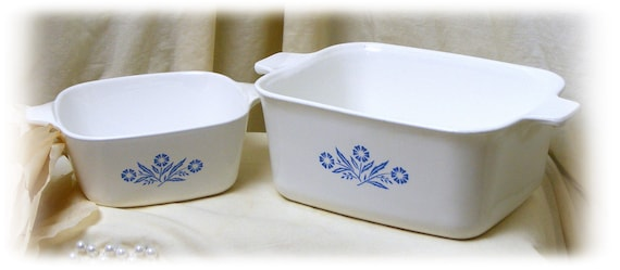 Two Corningware Casserole Dishes, (no lids)