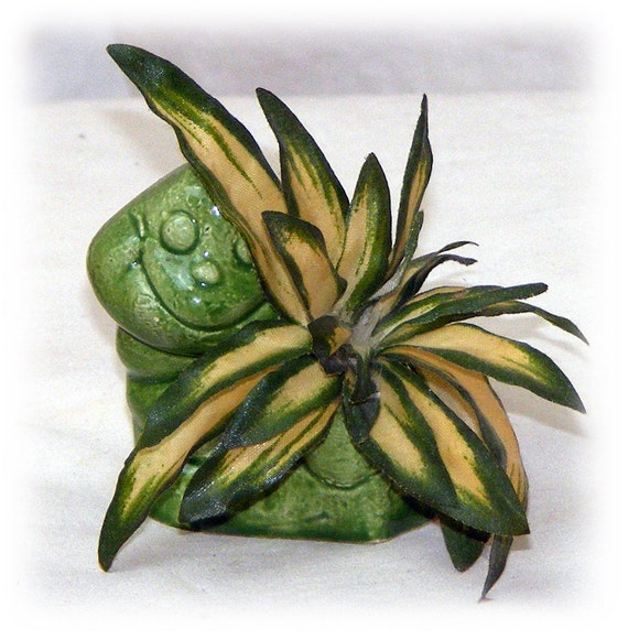 """Snail & Faux Plant . . """"Tiny Treasures"""""""