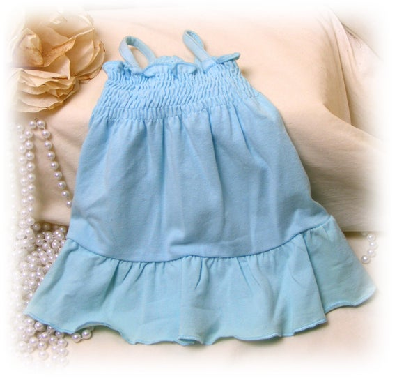 Adorable Handmade (SMALL+) DOG DRESS  . . Doggie Sundress . . Adorable in baby blue . . . (Custom Clothes Orders Welcome)