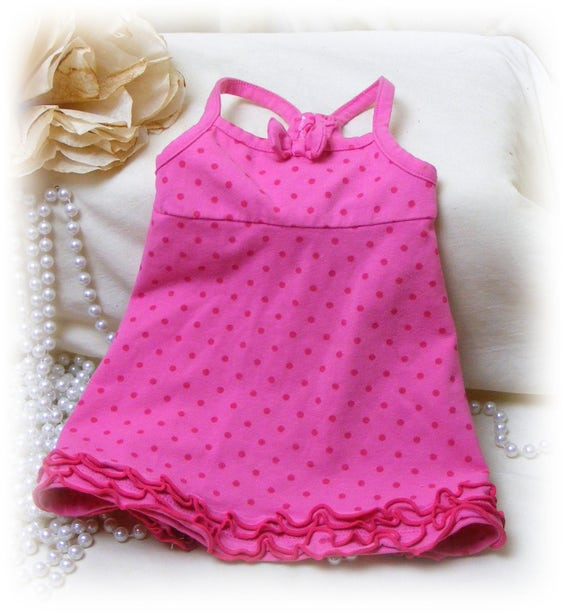 Handmade (SMALL) DOG DRESS . . Doggie Sundress . . Adorable in Hot Pink . . . (Custom Clothes Orders Welcome)