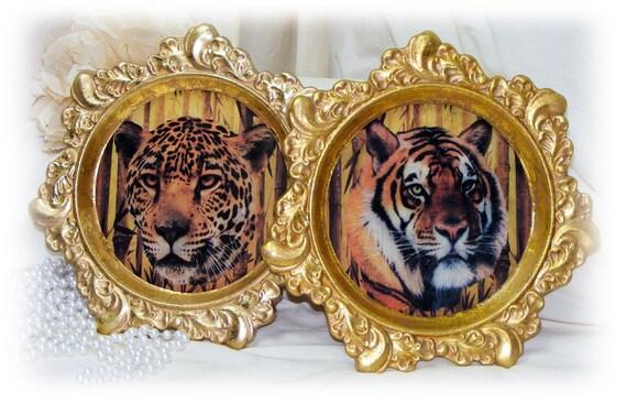 Beautiful Hanging CERAMIC WALL DECOR . . Jungle Cats Design