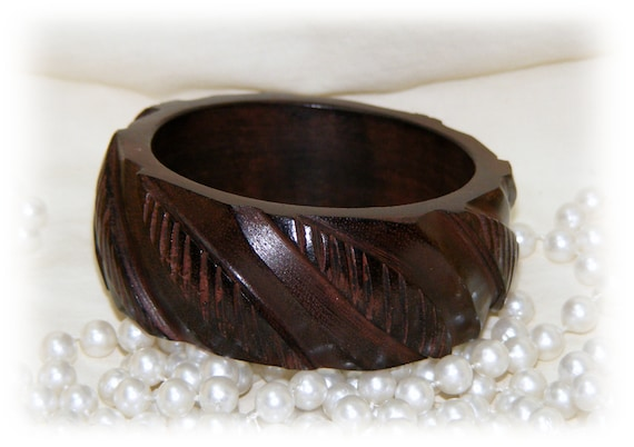 CARVED WOOD CUFF  Bracelet . . Never Worn