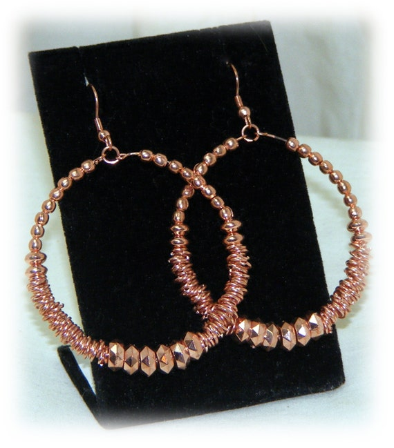 Rose Gold Look Beaded Earrings