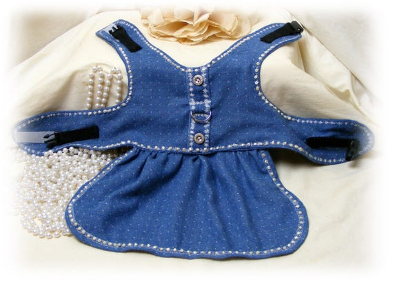 Denim Doggie Harness Dress (Custom Orders Welcome)
