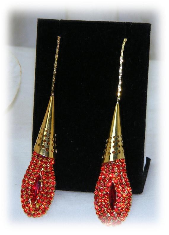 Elegant Red & Gold Dangle Earrings
