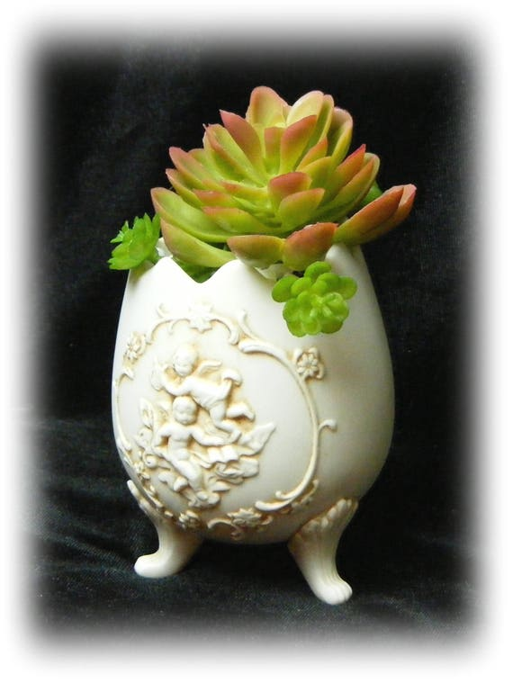 PORCELAIN BISQUE EGG Turned Tiny Treasure with faux succulents . . medium size