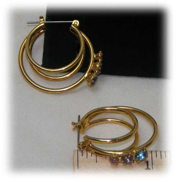 3 WIRE HOOPS . . With Three Stones On Each . . Pink, Yellow, Blue . . So Pretty!