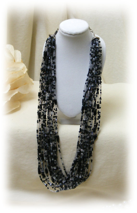 "Vintage Black Shades ""TINY BEADED NECKLACE"" . .  (never worn)"